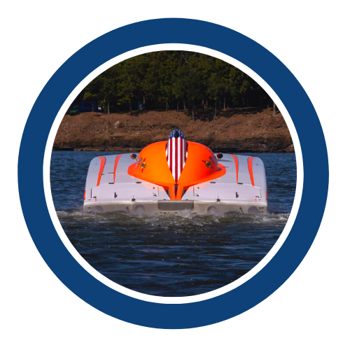 White powerboat with orange hatch