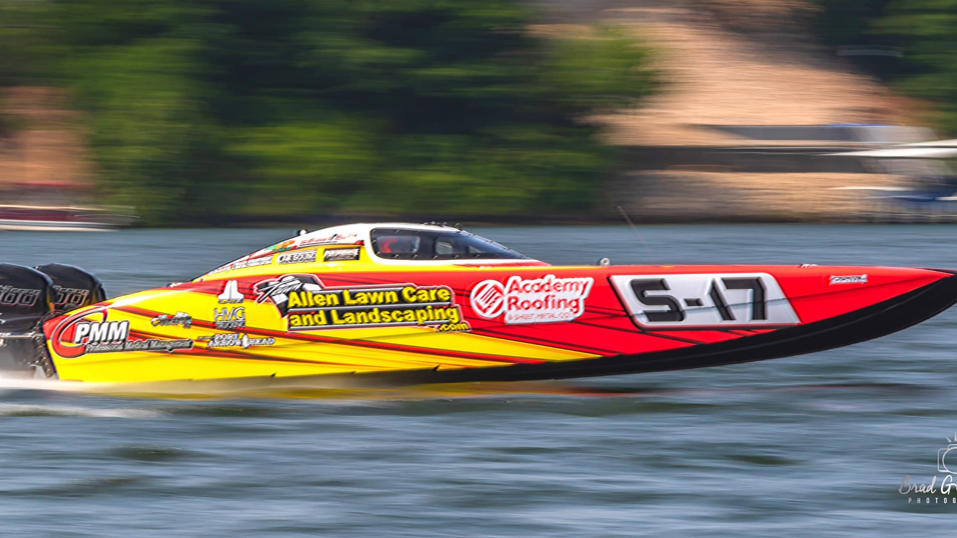 Red and yellow powerboat