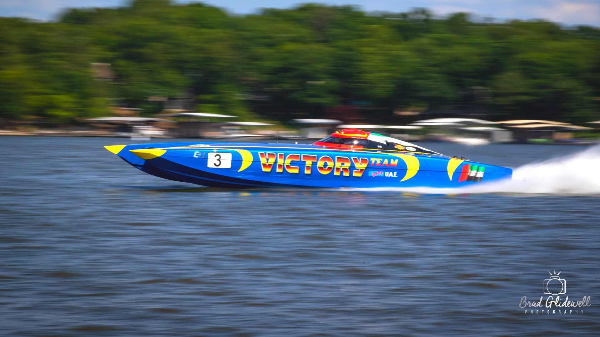 Royal blue Victory powerboat