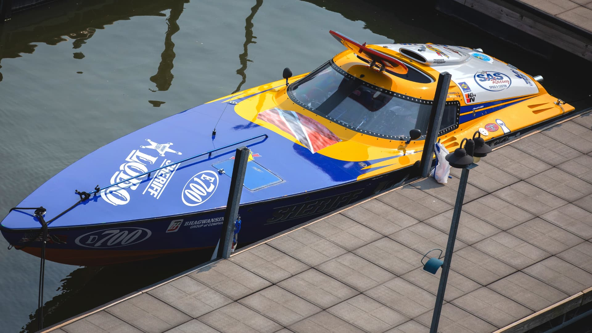 Blue and yellow powerboat
