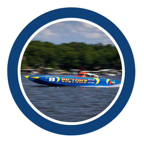 Victory blue powerboat